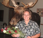 Gretchen Dunneman and a moose